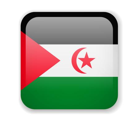 Saharan Arab Democratic Republic flag bright square icon. Vector Illustration Vecteurs