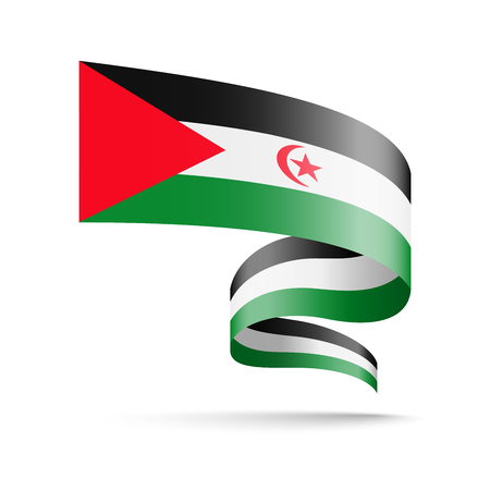 Saharan Arab Democratic Republic flag in the form of wave ribbon vector illustration on white background.