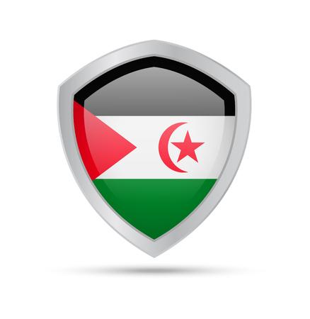 Shield with Saharan Arab Democratic Republic flag on white background. Vector illustration.