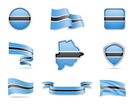 Botswana flags collection. Flags and outline of the country vector illustration set Vettoriali