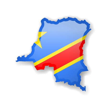 Democratic Republic of Congo flag and outline of the country on a white background. Vector illustration. Vetores