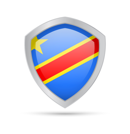 Shield with Democratic Republic of Congo flag on white background. Vector illustration.