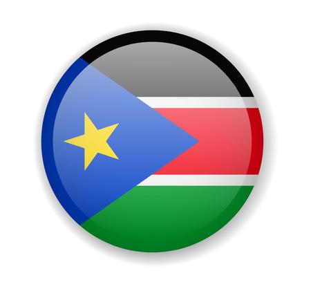 South Sudan flag round bright icon vector Illustration
