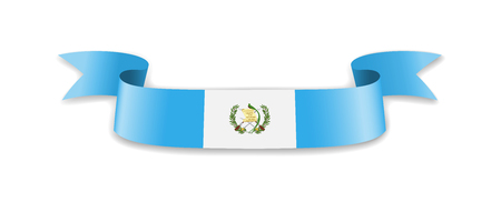 Guatemala flag in the form of wave ribbon. Vector illustration.