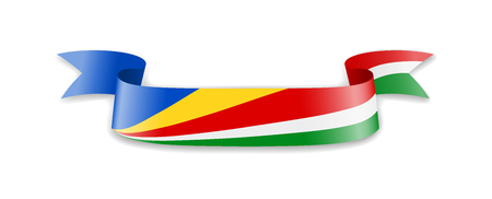 Seychelles flag in the form of wave ribbon. Vector illustration. 矢量图像