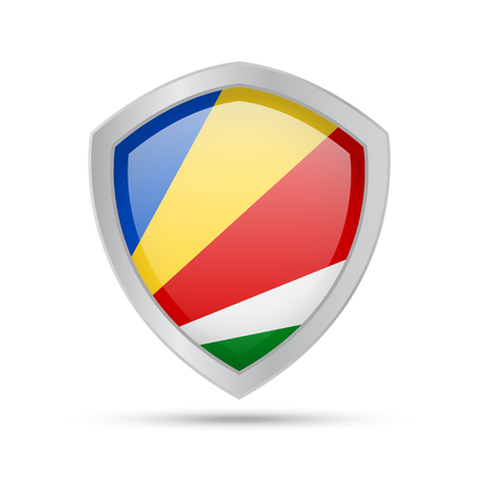 Shield with Seychelles flag on white background. Vector illustration. 일러스트