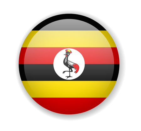 Uganda flag round bright icon vector Illustration