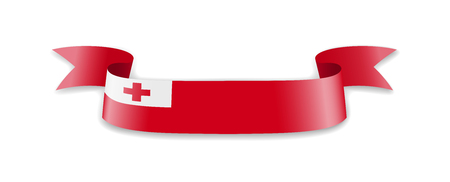 Tonga flag in the form of wave ribbon. Vector illustration.