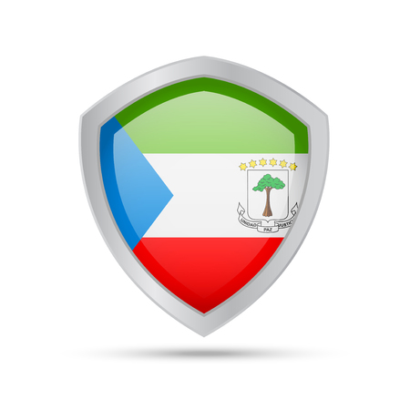 Shield with Equatorial Guinea flag on white background. Vector illustration.