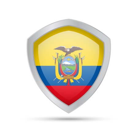 Shield with Ecuador flag on white background. Vector illustration.