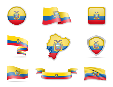 Ecuador flags collection. Flags and outline of the country vector illustration set
