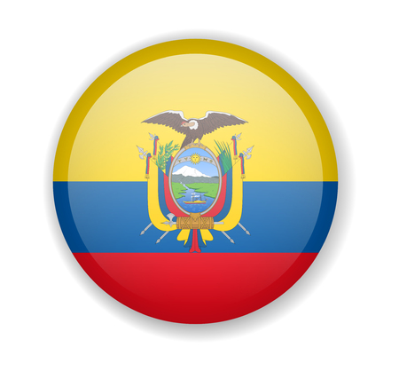 Ecuador flag round bright icon vector Illustration Ilustrace