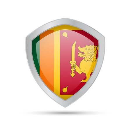Shield with Sri Lanka flag on white background. Vector illustration.