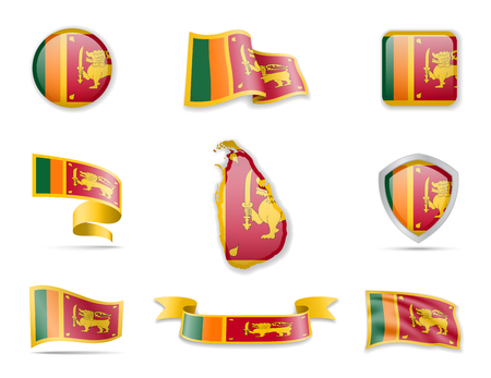 Sri Lanka flags collection. Flags and outline of the country vector illustration set