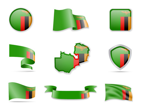 Zambia flags collection. Flags and outline of the country vector illustration set