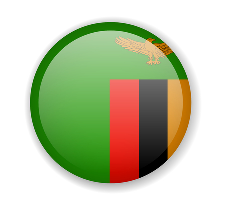 Zambia flag round bright icon vector Illustration