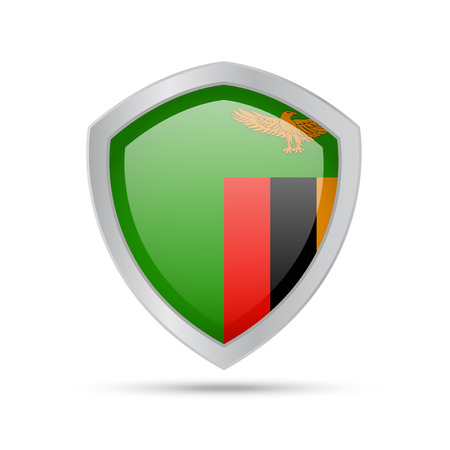 Shield with Zambia flag on white background. Vector illustration.