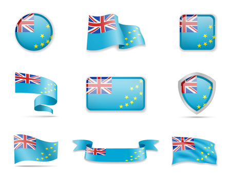 Tuvalu flags collection. Vector illustration flags collection