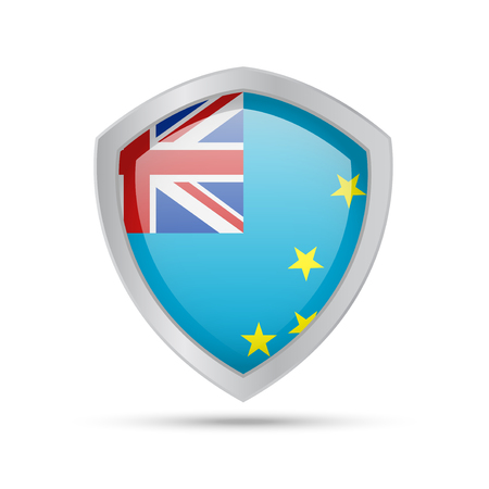 Shield with Tuvalu flag on white background. Vector illustration.