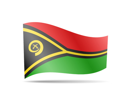 Waving Vanuatu flag in the wind. Flag on white background vector illustration
