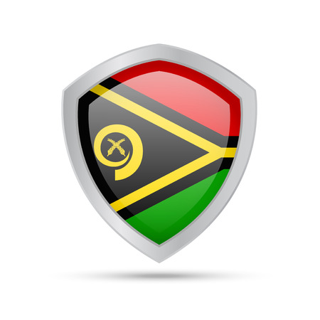Shield with Vanuatu flag on white background. Vector illustration.