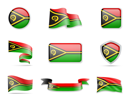 Vanuatu flags collection. Vector illustration flags collection