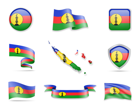 New Caledonia flags collection. Flags and outline of the country vector illustration set