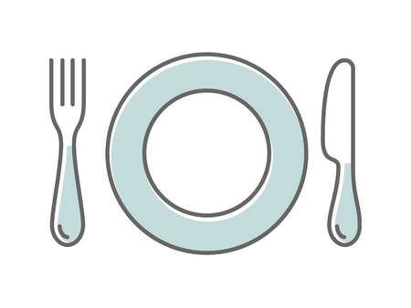 Dish fork and knife, thin icon vector illustration, pictogram isolated on on white Illustration