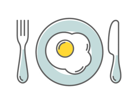 Fried egg on a plate, vector illustration colored icon in thin style Ilustrace