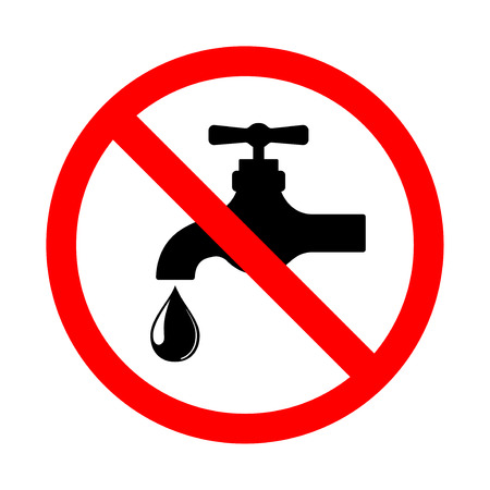 Do not use water sign, bright prohibition vector icon on white Vector illustration