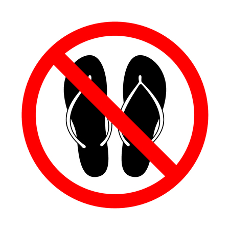 Beach slippers prohibition sign. Motion stop symbol, vector illustration from the collection of forbidden signs.