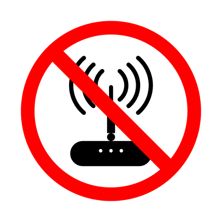 Forbidden wifi signal icon. Bright warning, restriction sign on a white background. Vector illustration of a collection of prohibition signs
