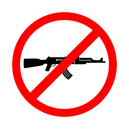 No weapons sign, no war sign. Bright warning icon, restriction sign on a white background. Vector illustration of a collection of prohibition signs