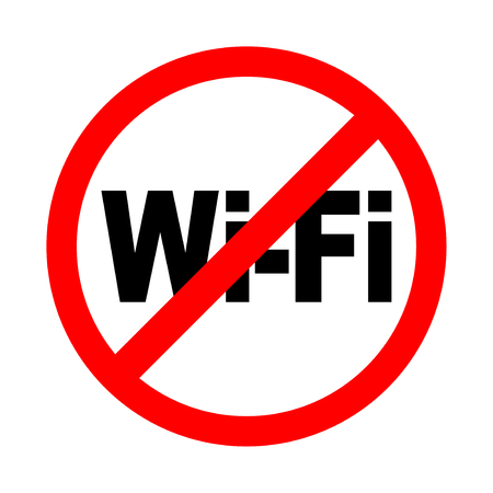 No wifi signal icon. Bright warning, restriction sign on a white background. Vector illustration of a collection of prohibition signs