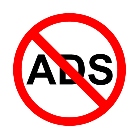 No ads icon. Bright warning, restriction sign on a white background. Vector illustration of a collection of prohibition signs