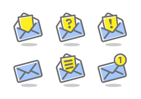 Set of icons for messages. Bright, colored sign on a white background. Vector icons collection