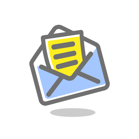 Simple icon letter in an envelope. Mail icon. Vector illustration.. Bright, colored sign on a white background. Vector icons collection