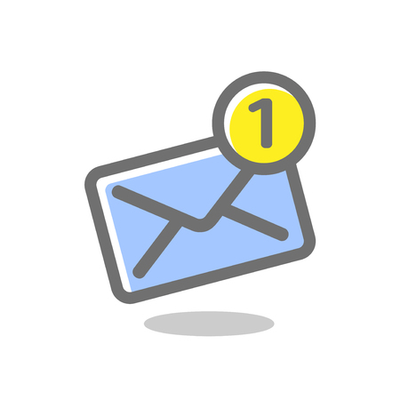 New incoming notification message. Mail envelope icon. Bright, colored vector illustration on a white background. Collection of vector icons Ilustrace