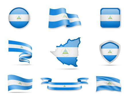 Nicaragua flags collection. Flags and outline of the country vector illustration set