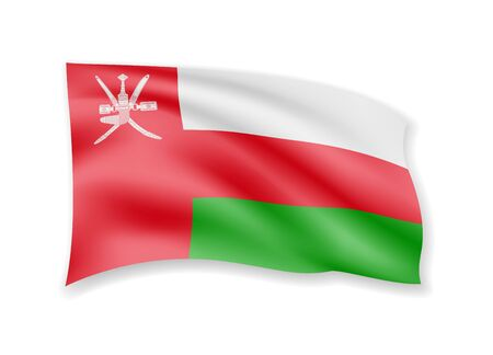 Waving Oman flag on white. Flag in the wind vector illustration.