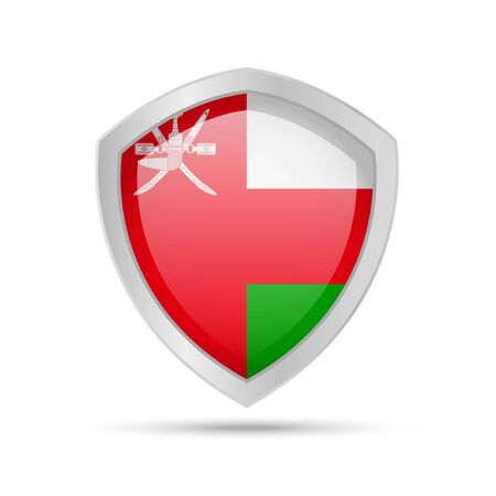 Shield with Oman flag on white background. Vector illustration. Ilustrace