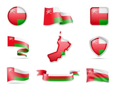 Oman flags collection. Flags and outline of the country vector illustration set Ilustrace