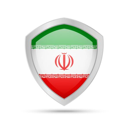 Shield with Iran flag on white background. Vector illustration. 向量圖像