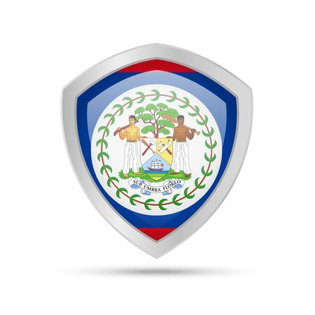 Shield with Belize flag on white background. Vector illustration.