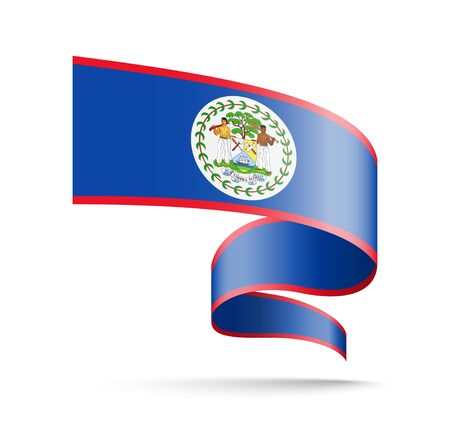 Belize flag in the form of wave ribbon vector illustration on white background. Ilustrace