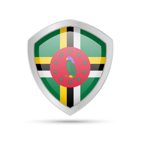 Shield with Dominica flag on white background. Vector illustration.
