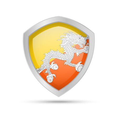 Shield with Bhutan flag on white background. Vector illustration.