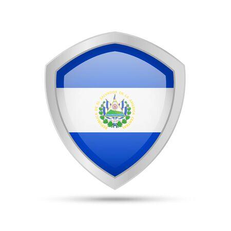 Shield with El Salvador flag on white background. Vector illustration. Ilustração