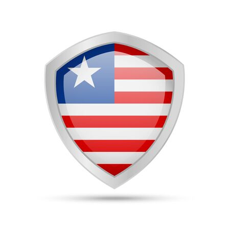 Shield with Liberia flag on white background. Vector illustration.
