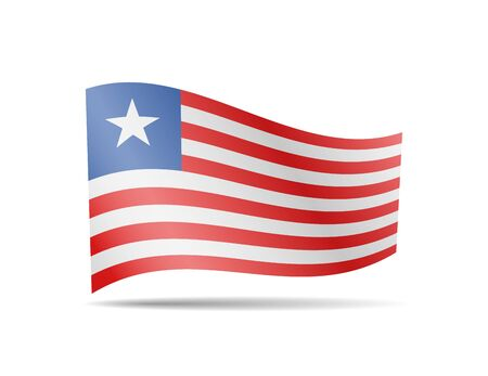 Waving Liberia flag in the wind. Flag on white background vector illustration Ilustração